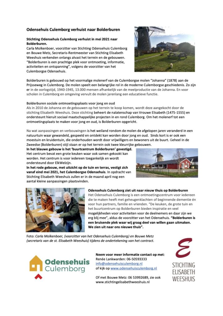 Odensehuis Culemborg verhuist naar Bolderburen